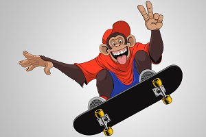 Funny monkey skateboarder