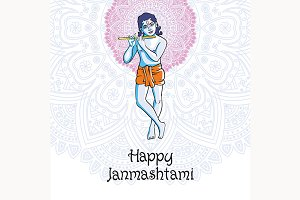 Happy Janmashtami. Krishna playing