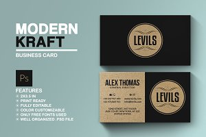 Kraft paper business card business card templates creative market modern kraft business card reheart Gallery