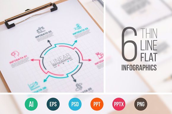 Line flat elements for infographic_9 in PowerPoint Templates