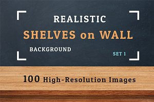 100 Realistic Shelves on Wall. Set 1