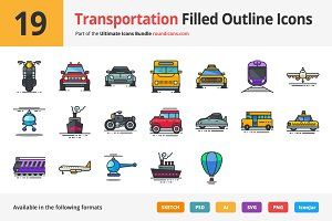 19 Transportation Filled Outline