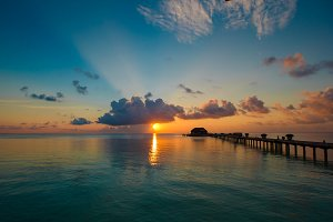 Beautiful colorful sunset in tropical island at Maldives