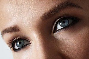 woman's blue eyes closeup