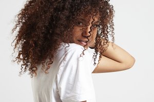 beauty black woman with curly hair