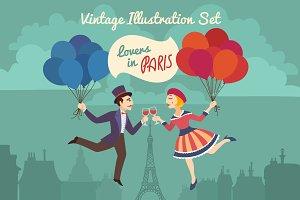 Lovers in Paris Vintage Cartoon Set