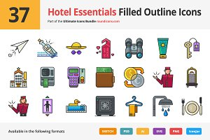 37 Hotel Essentials Outline Icons