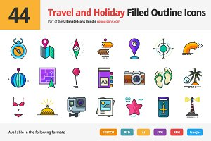44 Travel and Holiday Outline Icons