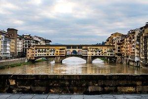 Old Ponte Vecchio Bridge on dull day
