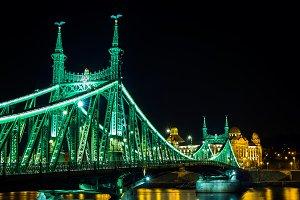 Liberty Bridge in Budapest at night