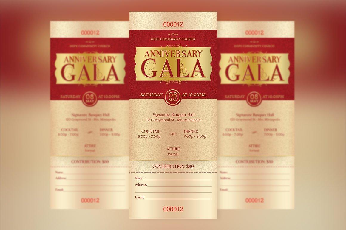 Blue Anniversary Banquet Ticket Pub Templates on Creative Market – Ticket Template Publisher