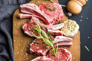 Raw uncooked lamb chops