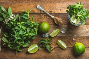 Ingredients for making mojito