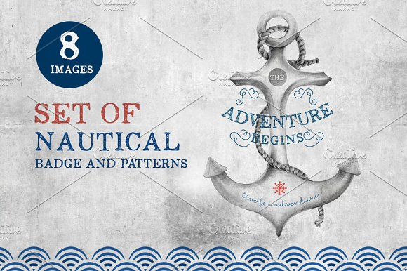 Set of nautical badge and patterns