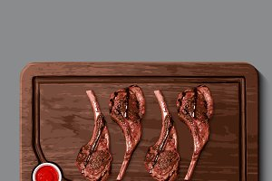 Realistic wooden cutting board, meat