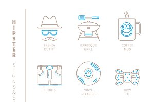 Hipster iconset mono line
