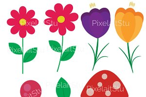 Flowers Vector Clip Art Graphics Set