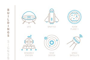 Open space iconset lineart