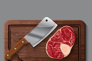 wooden cutting board, meat and knife