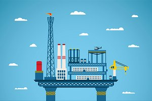 Oil offshore industry concept