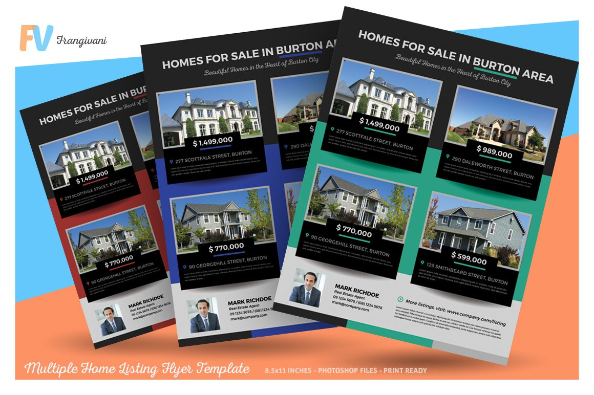 Multiple Home Listing Flyer Template ~ Flyer Templates ~ Creative Market