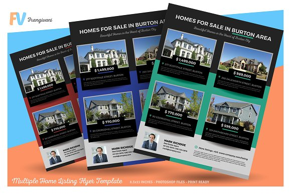 Multiple Home Listing Flyer Template Flyer Templates Creative Market