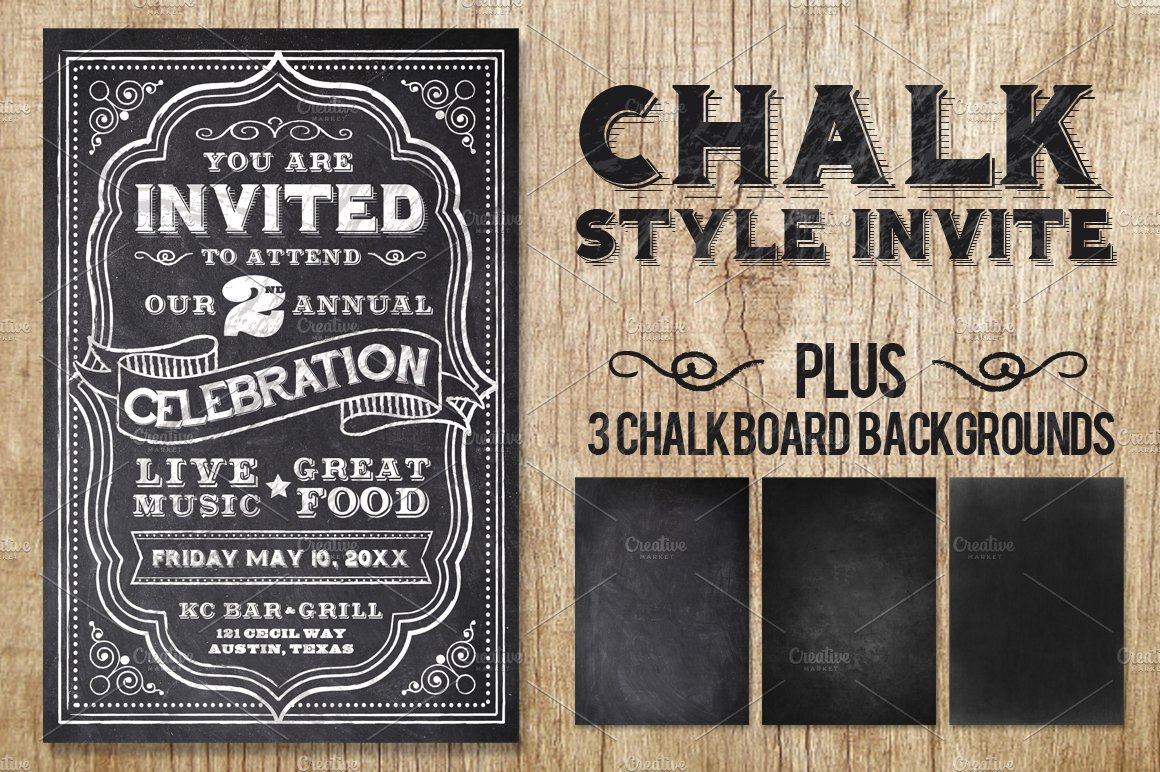 chalk invite flyer templates creative market