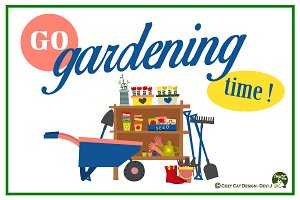 Digital Clipart GO Gardening Time