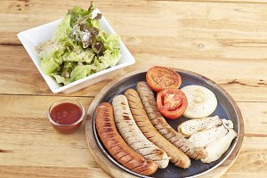 sausage, salad sesame sauce