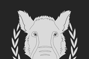 Boar head in laurel wreath. Vector