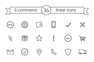 E-commerce. 36 icons. Vector