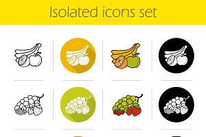 Grocery store. 12 icons. Vector