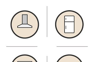 Kitchen interior. 4 icons. Vector