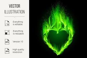 Green fiery heart.