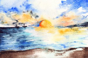 Watercolor sea sunset landscape