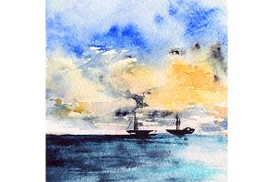 Watercolor sea ship sunset landscape