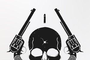Skull and pistols emblem. Vector