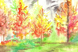Watercolor autumn forest landscape