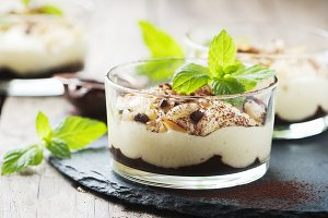 Dessert with cream and chocolate