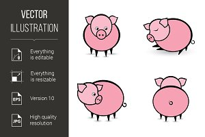 Four abstract pigs in different posi