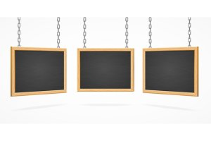 Black Board Sign Set. Vector