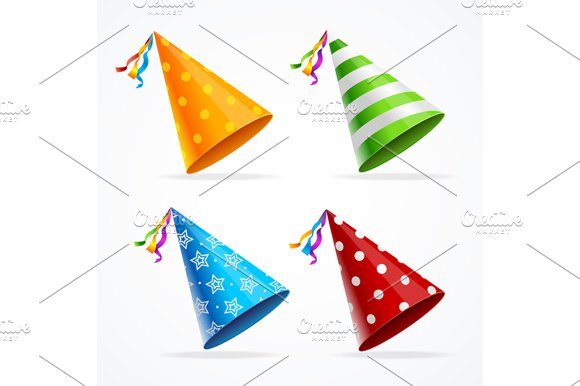 Party Hat Set. Vector - Objects