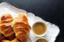 baked croissants and espresso coffee