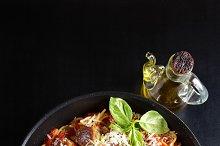 spaghetti and vegetarian meatballs
