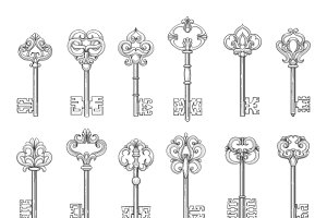 Vintage keys line vector icons