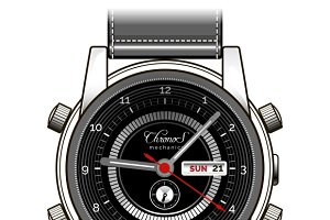 Mens hand watch vector icon