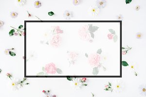 Floral pattern with empty blank