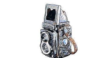 Old twin lens reflex-vector