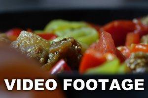 Closeup on pan fried chopped
