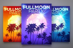 Fullmoon Party vector posters